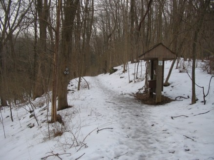 start of the trail, and kiosk