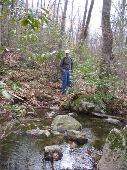 Matt, on the trail across a stream